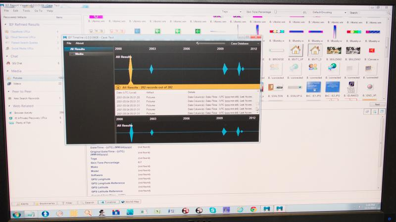 Digital forensics analytics on the computer of a murder victim show a timeline of activity.