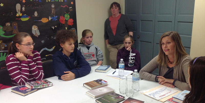Vermont author Jo Knowles speaks to kids in Colchester's Burnham Memorial LIbrary DCF Club.