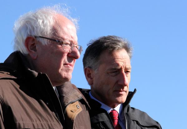 Senator Bernie Sanders with Governor Peter Shumlin at a Nov. 4, 2013 press event announcing the solar test center.