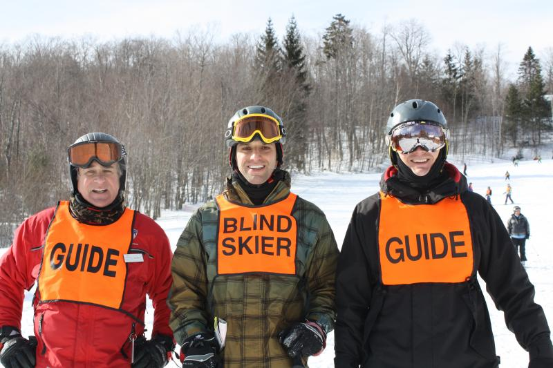 In addition to hosting programs like the Blind Athletes Winter Festival, shown, Vermont Adaptive Ski and Sports also offers accessible biking, kayaking and horseback riding.
