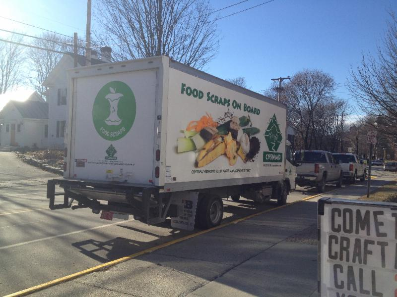 Central Vermont Waste Management District's hauling vehicle displays the new universal recycling symbol for food scraps.
