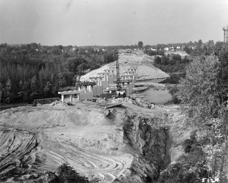 This 1961 photograph shows bridge construction over the Winooski River.