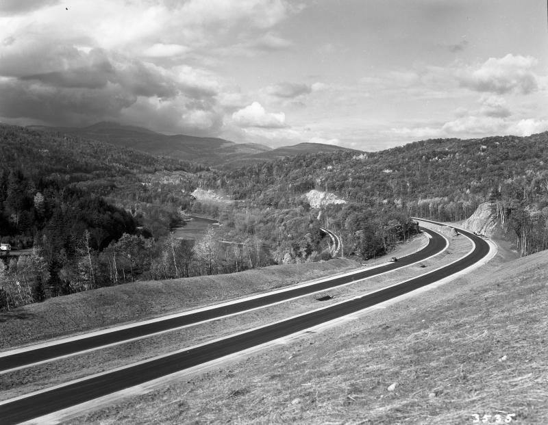Fresh new pavement curves through the Waterbury/Middlesex region in 1960.