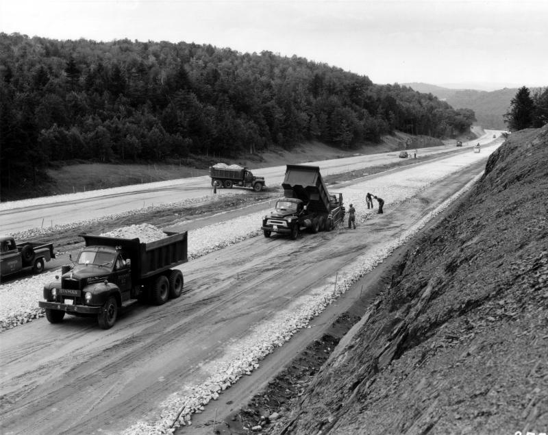 Truckloads of large stones make a base for 1-91 North in Brattleboro in this 1958 picture.