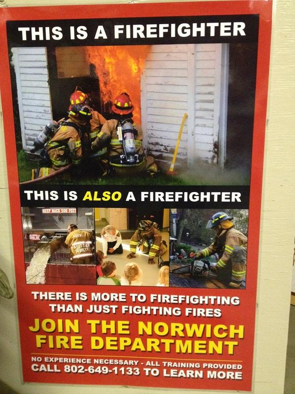 Poster invites Norwich residents to join the fire department.