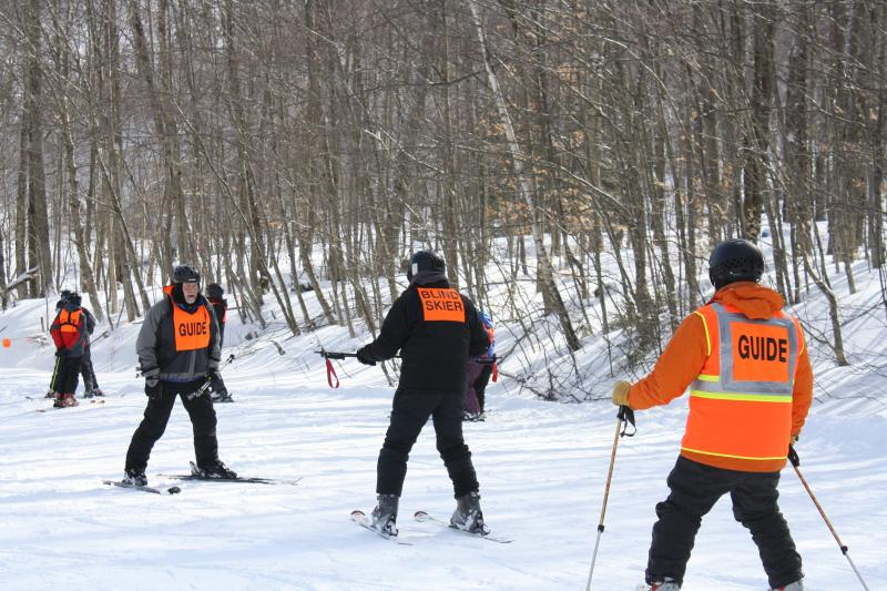 Blind skiers and guides participate in the 2012 U.S. Association of Blind Athletes Winter Festival at Pico.