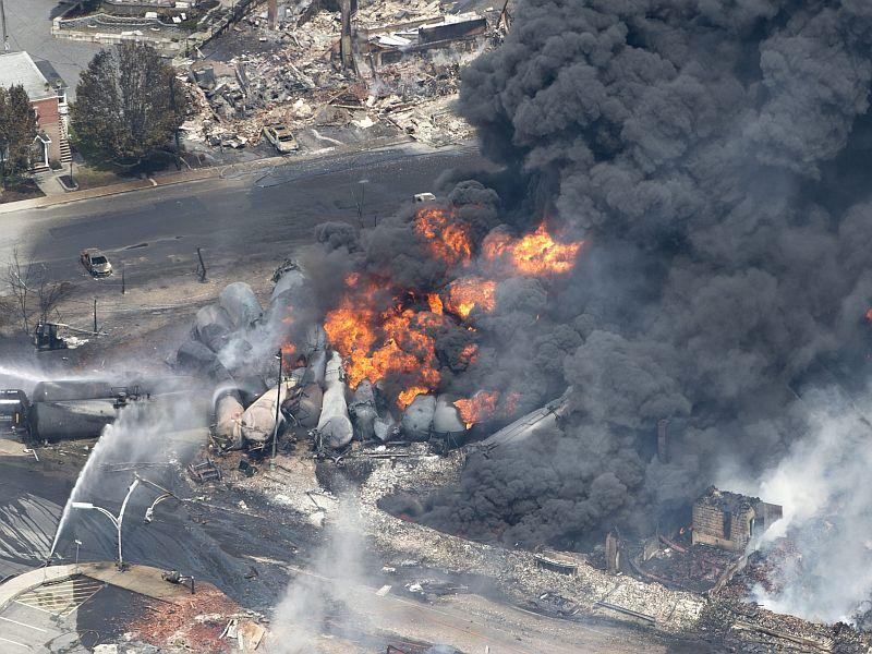 Smoke rises from rail cars carrying crude oil after derailing in Lac Megantic, Quebec.