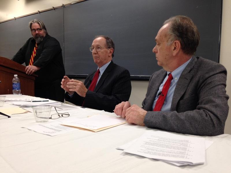 Bill Mathis (center) of the National Education Policy Center, criticizes privatization of schools in a debate at Lyndon State College.