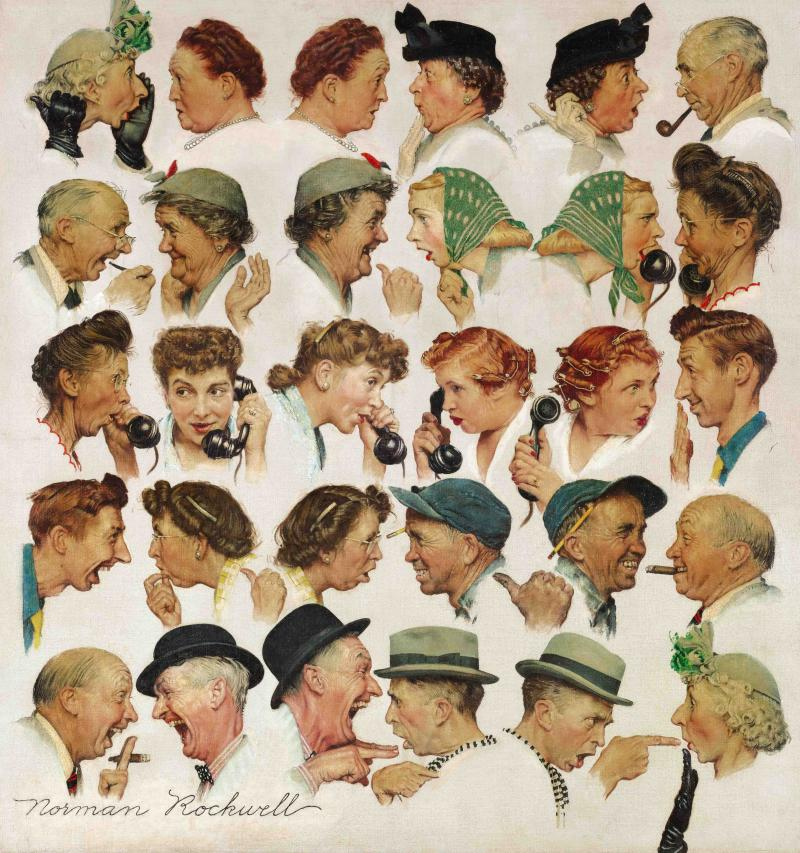 "Rockwell's ""The Gossips"" sold for nearly $8.5 million."
