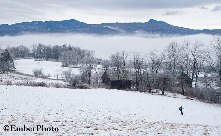 """""""With 1/8"""" of ice on the trees, and clouds in the valleys, Sunday afternoon turned out to be a beautiful time to ski in our local pastures..."""""""