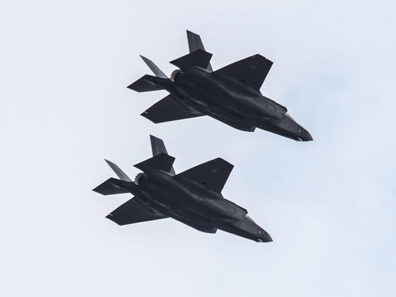 F-35 Lightning II jets fly in formation flight over Eglin Air Force Base in Florida on Dec. 4.