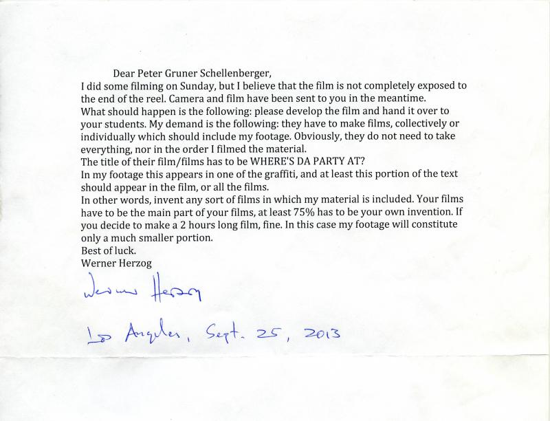 Herzog sent detailed instructions to UVM Visiting Lecturer Peter Shellenberger about how his students should use the footage.