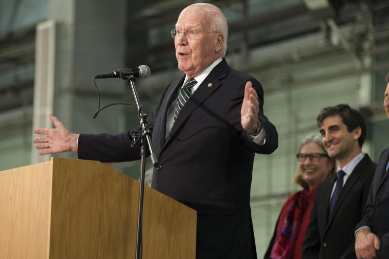 Sen. Patrick Leahy, the only member of Vermont's congressional delegation at Tuesday's press conference, celebrated the decision the came after years of intense debate.