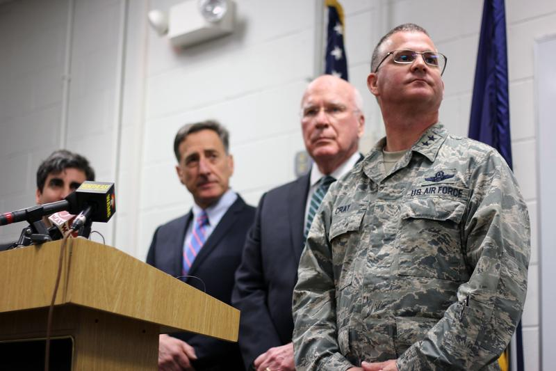 Maj. Gen. Steven Cray, pictured on far right at a 2013 press conference announcing the F-35 basing in Burlington, is adjutant general of the state of Vermont. Cray spoke to