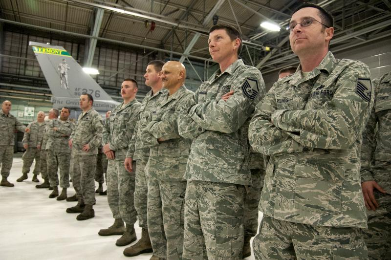 Hundreds of Air National Guard members gathered at the Burlington Air Guard station to hear the announcement Tuesday that Vermont was chosen to base the F-35 Lightning II. The announcement was made in a hangar containing an F-16, left.