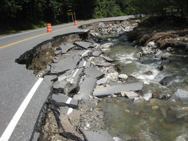 Route 9 between Marlboro and Brattleboro,  three days after Tropical Storm Irene.