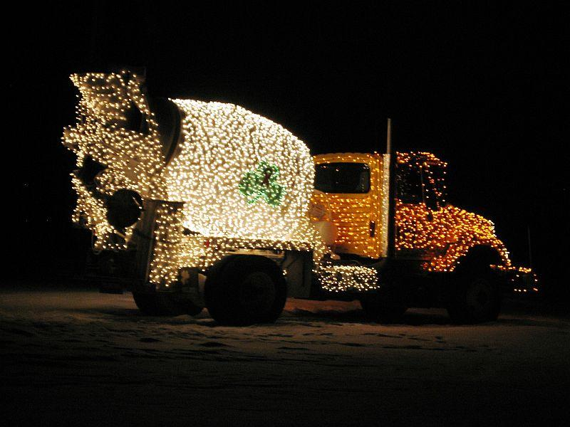 Each of the three SD Ireland trucks is bedecked with 25,000 Christmas lights and rolls of clear duct-tape.