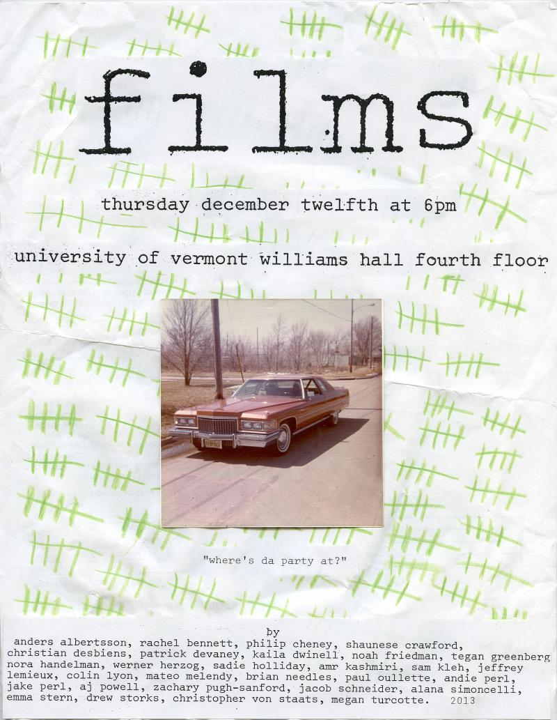 UVM students incorporated Herzog's footage into short Super 8 films that will be screened on Dec. 12.