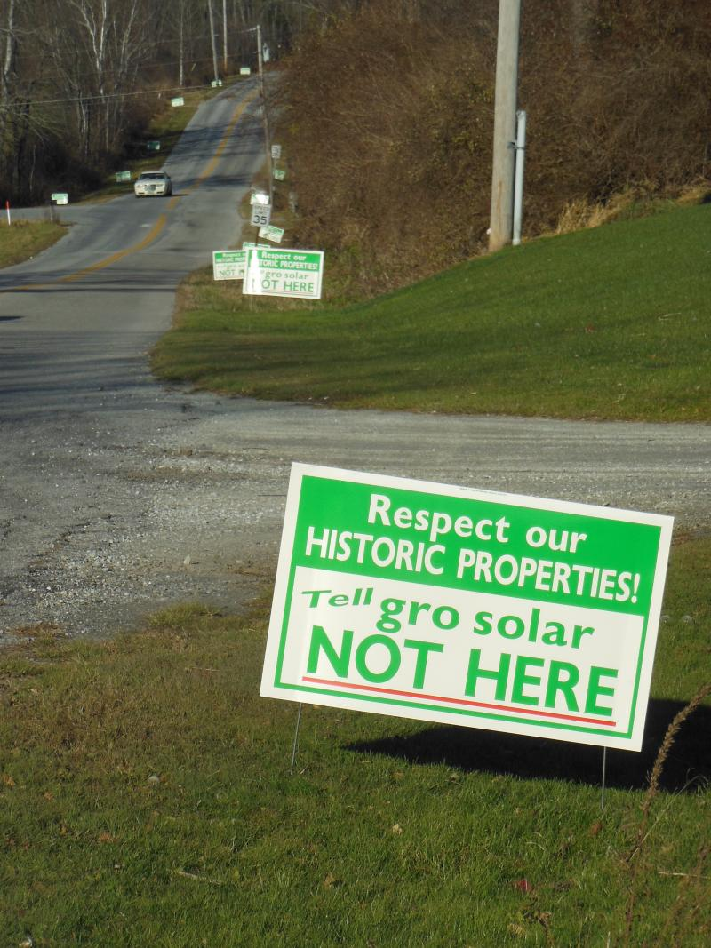 In Rutland Town, members of Vermonters for Responsible Solar put up signs last fall to protest a proposed 2.3 megawatt solar farm planned by groSolar.