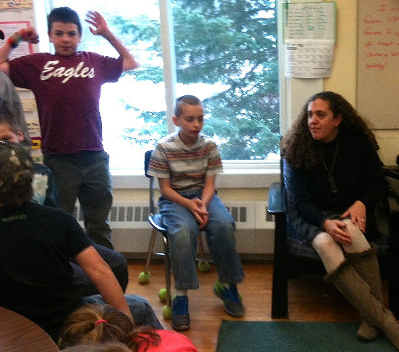Teacher Liz Greenberg addresses her fifth and sixth grade class at Robinson Elementary School.