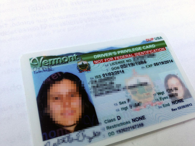 An example of a new license available to undocumented Vermont residents, blurred to protect the owner's identity.