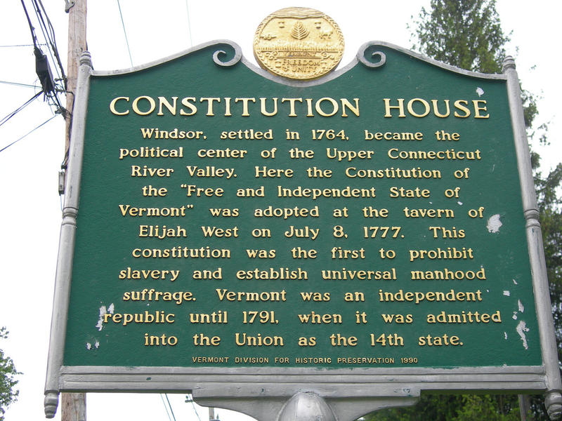The Constitution House historic marker in Windsor, Vermont, highlights the prohibition of slavery in 1777. Our guest says things were a little more complicated than that.