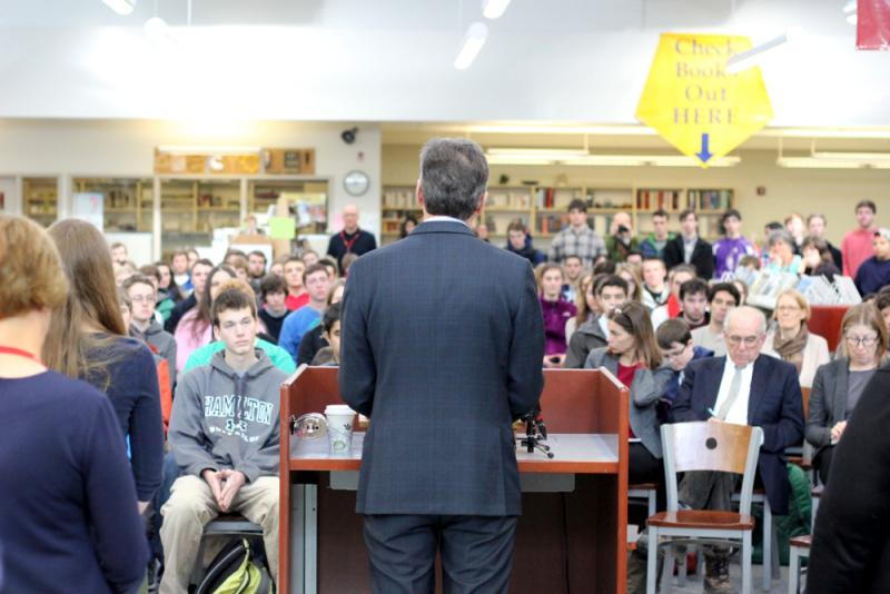 Gov. Peter Shumlin addressed students at Champlain Valley Union High School in Hinesburg.