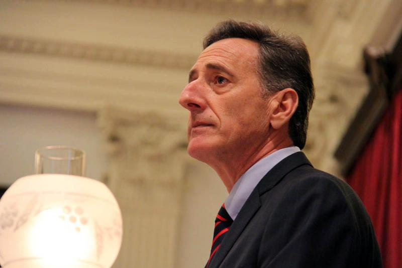 """If we can't get costs under control,"" Gov. Shumlin, pictured here delivering his 2014 budget address, said shortly after his inauguration, ""we'll pick up our marbles and go home."""