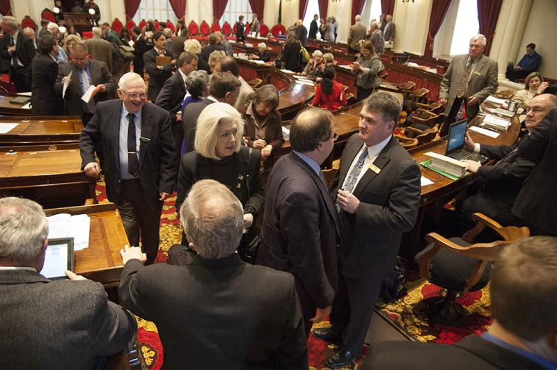 Lawmakers greeted one another with handshakes and hugs on what Speaker of the House Shap Smith likened to the first day of school.