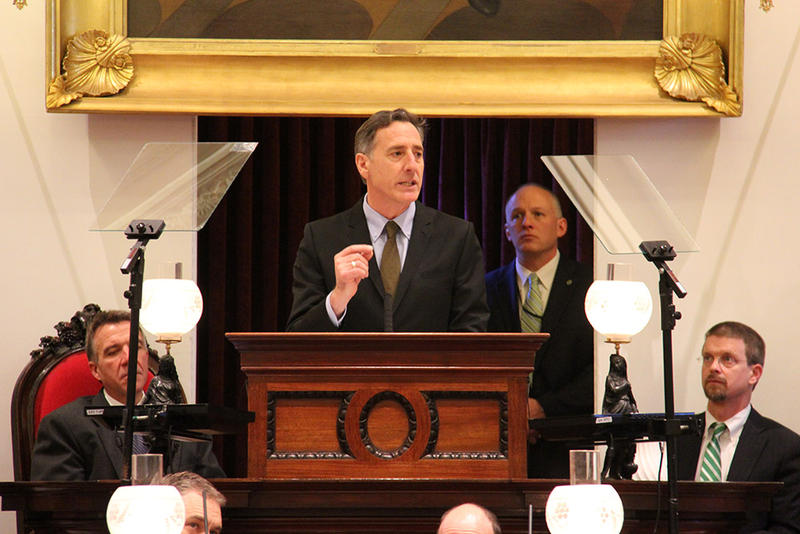 Governor Peter Shumlin delivers his 2014 State of the State address on Jan. 8, 2014.