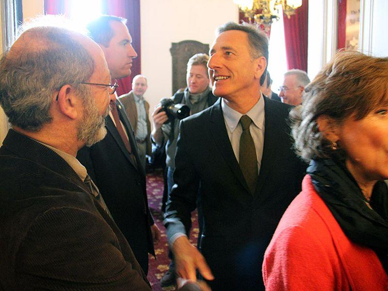 Governor Peter Shumlin on his way into the House chamber to give the address.