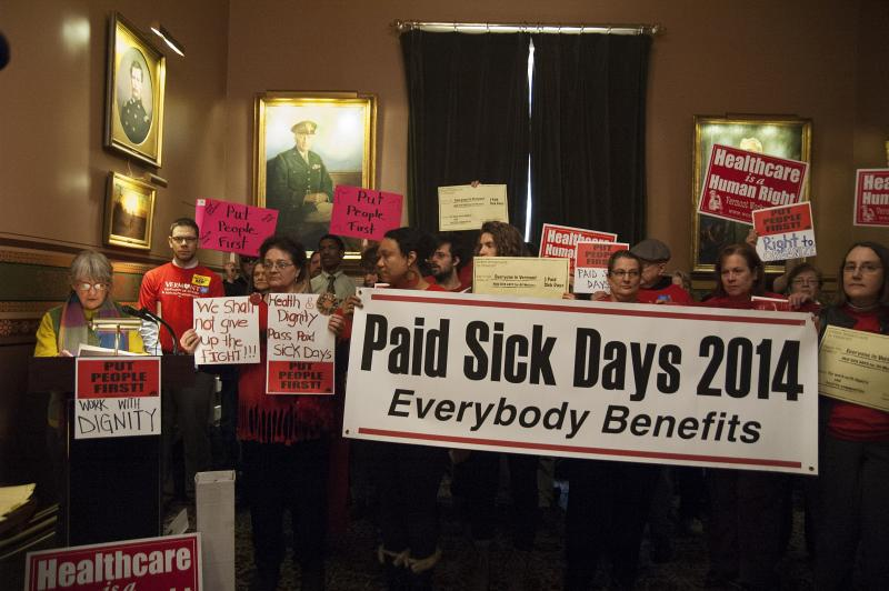 The Vermont Workers' Center rallies for paid sick days in the Cedar Creek Room.