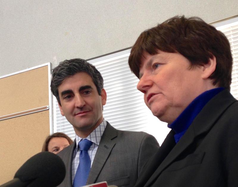 Treasurer Beth Pearce with Burlington Mayor Miro Weinberger.