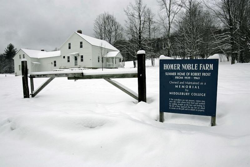 The Homer Noble Farm, historical summer home of poet Robert Frost in Ripton, photographed in December 2007.