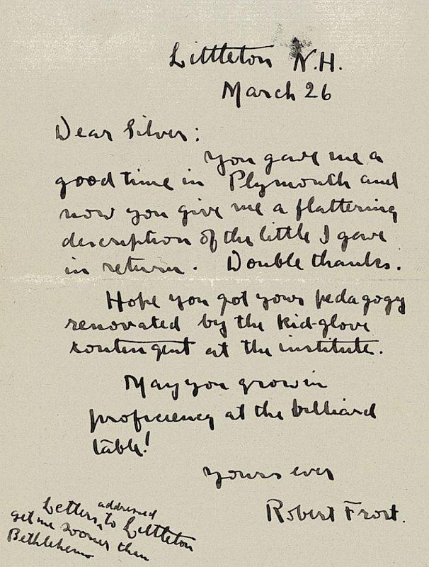 This photo released from the archives at Plymouth State University in Plymouth, N.H. shows one of several letters written by the young not-yet-famous poet Robert Frost. Frost taught at Plymouth State University.