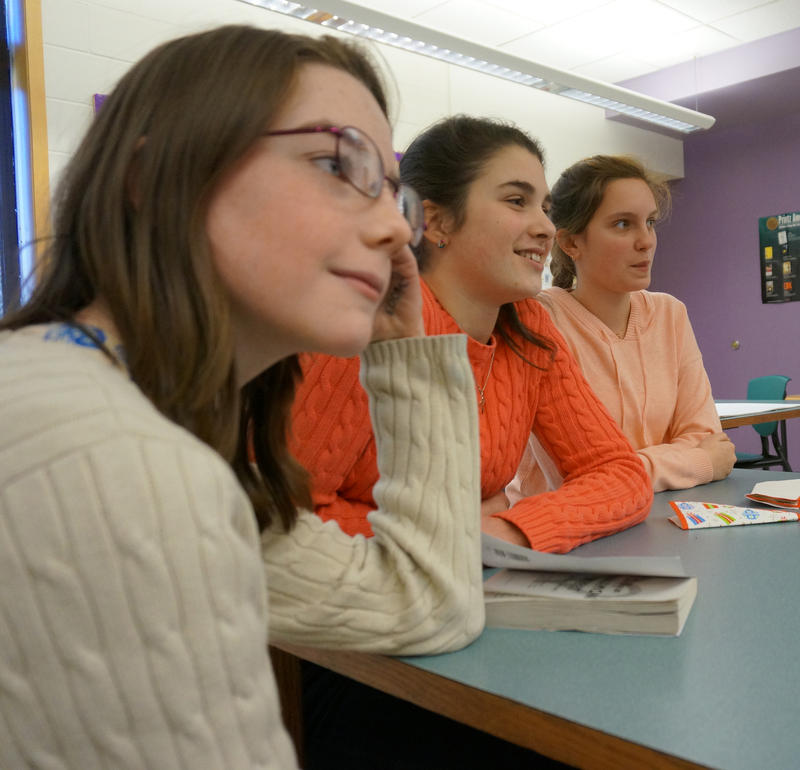 These Brattleboro Area Middle School girls have some very different opinions about romance novels than the boys at the other end of the table!