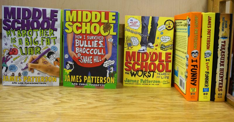 Here are a few of the middle grade books by author James Patterson, some of which are co-authored by Vermonter Chris Tebbetts.