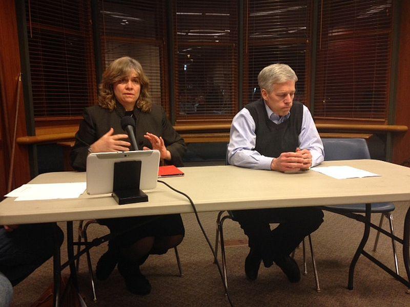 Challenger Gwen Hallsmith and Montpelier Mayor John Hollar at a candidate forum.