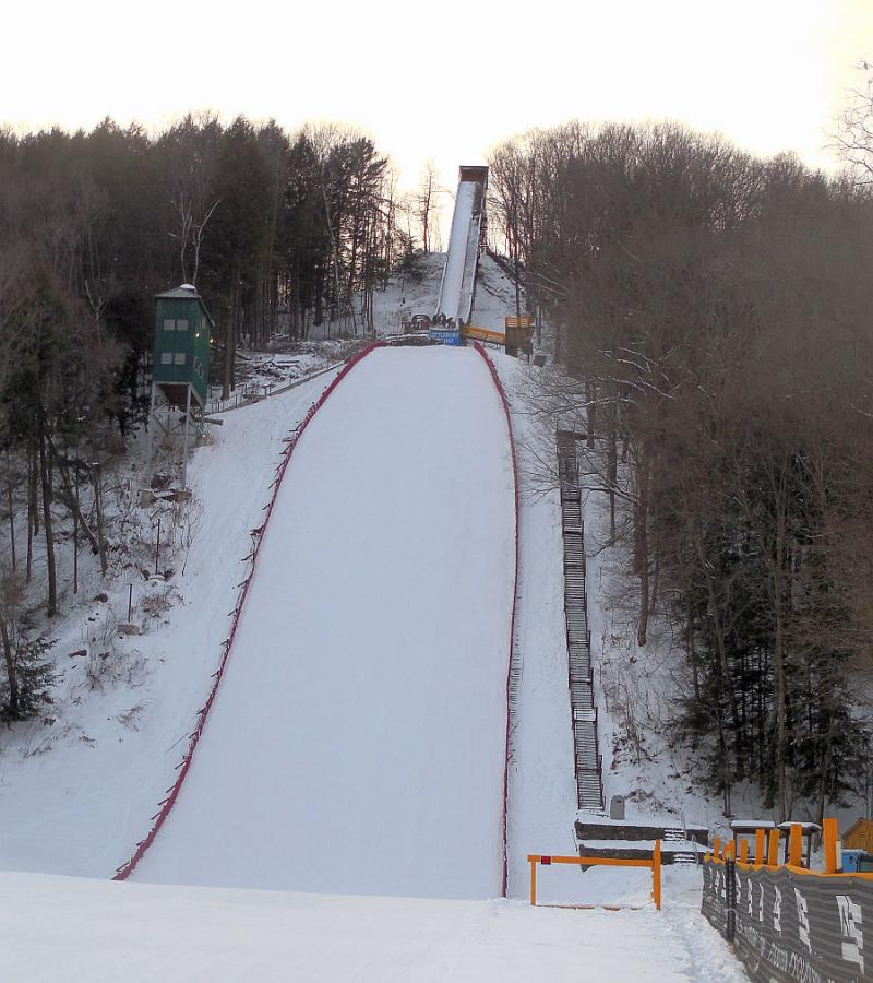 The Harris Hill Ski Jump is built into the Brattleboro landscape.
