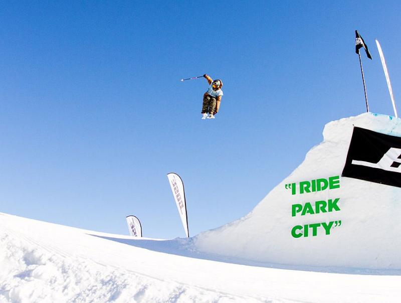 "Devin Logan catches ""big air"" in a competition at Park City Utah."