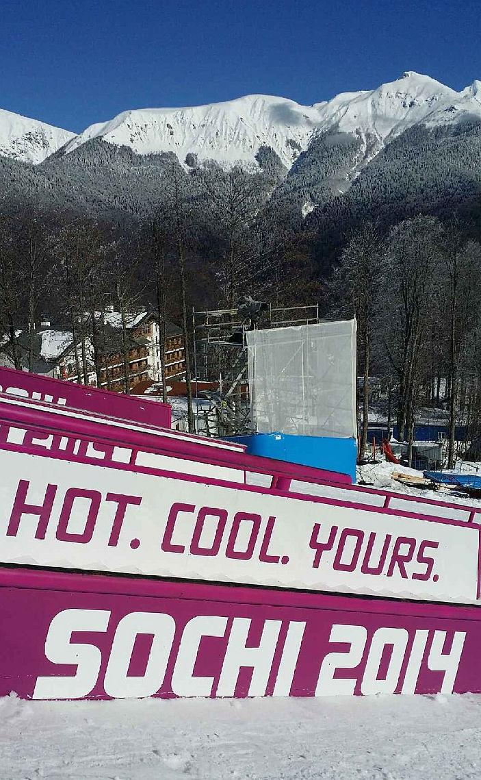 Devin Logan snapped this photo of the slopestyle course at the Sochi Olympics' Rosa Khutor Extreme Park.