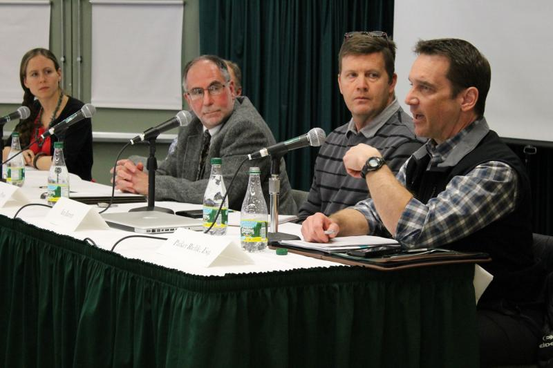 Panelists at Vermont Law School discuss how climate change could affect winter sports.