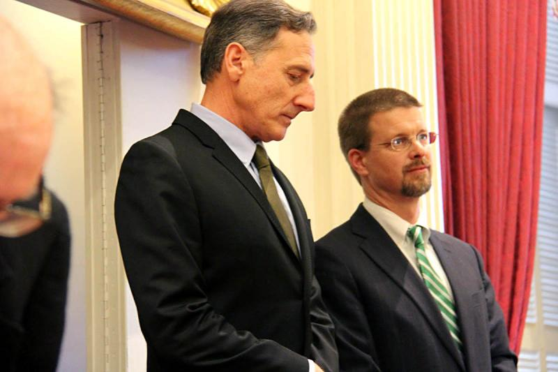House Speaker Shap Smith, right, is a solid supporter of Gov. Peter Shumlin's single payer initative. But the administration has no one person in the Statehouse directing the political strategy and messaging necessary to achieve the reform.
