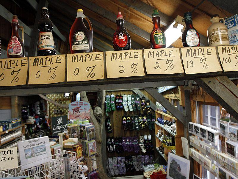 This display at the Morse Farm shows the actual percentage of maple syrup in various maple products.