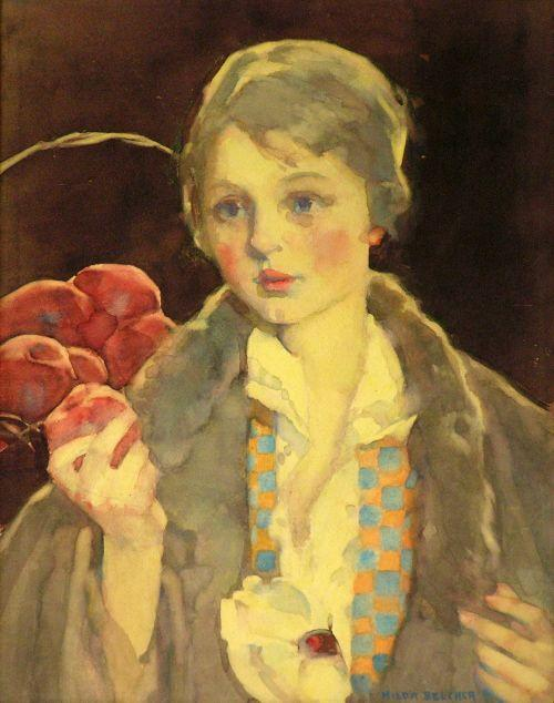 Hilda Belcher's watercolor portrait of a girl with an apple.