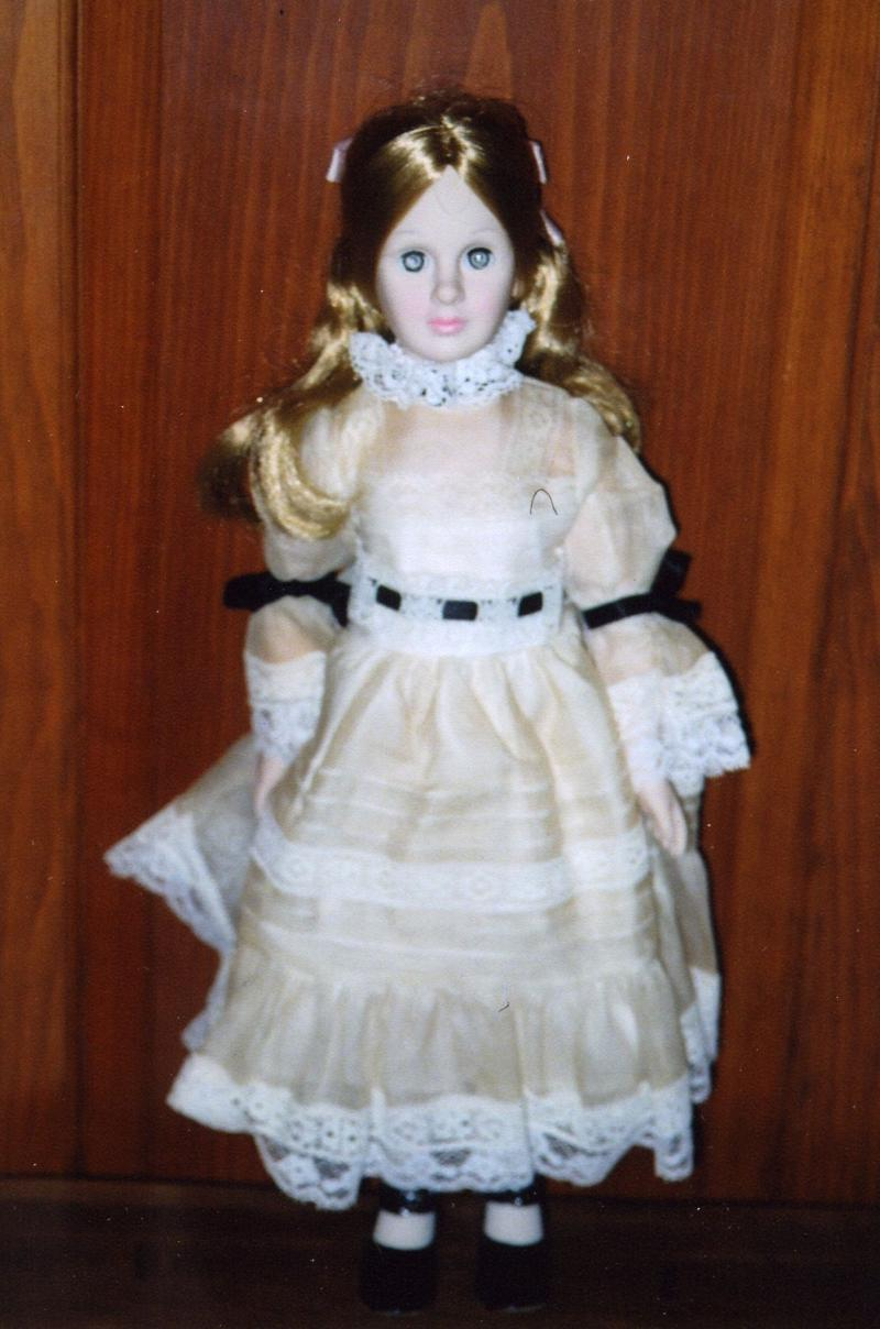Commissioned by the Effanbee Limited Edition Doll Club, Dewees re-created and re-designed a self-portrait doll of herself that she had made in the 1960's.  She is dressed as a young lady at the turn of the 20th century. Bill Aldrich, donor.