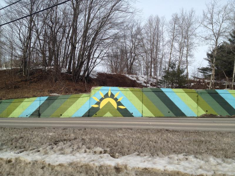 This mural, along Route 100 in Londonderry, was painted by local artists as an interim display. A mural designed by Flood Brook School will go up later this spring.
