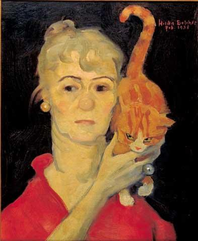 Hilda Belcher's self portrait with cat