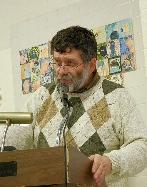 Vernon Town Moderator Tim Arsenault keeps the town meeting conversation on track.
