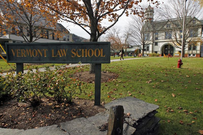 Vermont Law School sign on a fall day in October 2012.